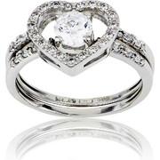 Δαχτυλίδι Μονόπετρο Καρδιά Λευκό Χρυσό Κ14 με Πέτρες Ζιργκόν, 029848