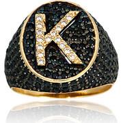 Δαχτυλίδι Σεβαλιέ Κίτρινο Χρυσό Μονόγραμμα Κ Κ14 με Πέτρες Ζιργκόν, 019500