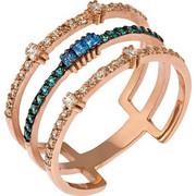 Δαχτυλίδι τριπλό από ροζ χρυσό 14 καρατίων με λευκά και μπλε ζιρκόν. LS16571