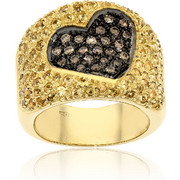 Φαρδύ Δαχτυλίδι Κίτρινο Χρυσό Κ18 με Διαμάντια Μπριγιάν και Ζαφείρια, 000847