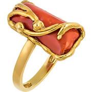 Δαχτυλίδι από χρυσό 18 καρατίων με ορυκτό κοράλι. KN02947