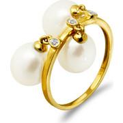 Χρυσό δαχτυλίδι με λευκά μαργαριτάρια και διαμάντια - G318441