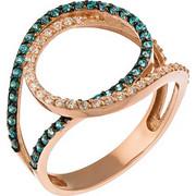 Δαχτυλίδι από ροζ χρυσό 14 καρατίων με λευκά και μπλε ζιρκόν. LS16574