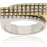 Δαχτυλίδι Κίτρινο και Λευκό Χρυσό 18 Καρατίων Κ18 με Διαμάντια Μπριγιάν, 000842