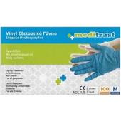 Meditrast Vinyl Εξεταστικά Γάντια Μιας Χρήσης Ελαφρώς Πουδραρισμένα Μπλε Small 100 τεμάχια