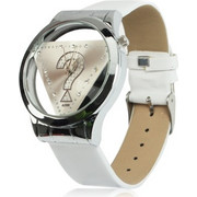 Stylish Question Mark Style Quartz Wrist Watch Wristwatch with Leather Band (White) SK294553