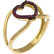 Δαχτυλίδι με καρδιά από χρυσό 14 καρατίων και διακοσμημένο με λευκά και μωβ ζιρκόν. LS16576