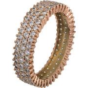 Τρίσειρο δαχτυλίδι ροζ χρυσό Κ14 021877 021877 Χρυσός 14 Καράτια