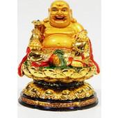Χρυσός Βούδας Ευλογίας Καθισμένος Σε Άνθος Λωτού