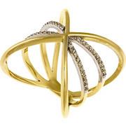 Εντυπωσιακό δαχτυλίδι από χρυσό 14 καρατίων σε χιαστί διάταξη με ζιρκόν. LS16577