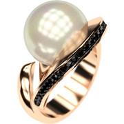 Ασημένιο δαχτυλίδι 925 με λευκή πέρλα Swarovski και μαύρες πέτρες Swarovski AD-16092AG