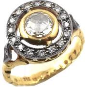 Χειροποίητο Χρυσό Δαχτυλίδι Αντικέ 18 Καρατίων με Διαμάντια rng183657antq