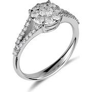 Δαχτυλίδι ροζέτα από λευκό χρυσο 18 καρατίων με ένα κεντρικό διαμάντι, 8 διαμάντια περιμετρικά και 28 διαμάντια κατά μήκος της γάμπας. DD14537