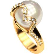 Ασημένιο δαχτυλίδι 925 με λευκή πέρλα Swarovski και λευκές πέτρες Swarovski AD-16091G