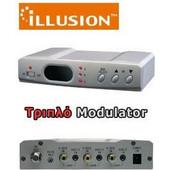 ILLUSION MOD-ILL3UD Τριπλός Διαμορφωτής (Modulator) Εικόνας και Ήχου μπάντας UHF με LED Display