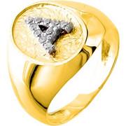 Χρυσό σεβαλιέ δαχτυλίδι Κ14 με μονόγραμμα