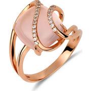 Δαχτυλίδι από ροζ χρυσό 18 καρατίων με ροζ χαλαζία και διαμάντια. KV16240