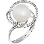 Δαχτυλίδι από λευκό χρυσό 14 καρατίων με μαργαριτάρι και ζιρκόν. MM13878