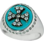Δαχτυλίδι Σεβαλιέ Λευκό Χρυσό 14 Καρατίων με Πέτρες Ζιργκόν και Τυρκουάζ, 016692