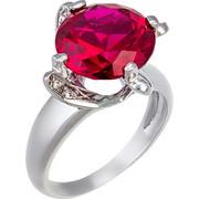 Δαχτυλίδι από λευκό χρυσό 14 καρατίων με εντυπωσιακό κόκκινο ζιρκόν στο κέντρο και μικρότερα λευκά ζιρκόν στο πλαι. ZP00299