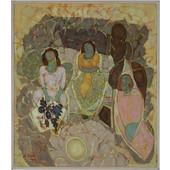 Παρέα γυναικών, 75X75, Δέδες Απόστολος, Λάδι σε μουσαμά