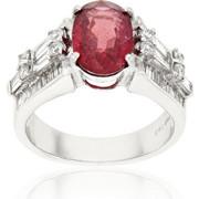 Δαχτυλίδι Λευκό Χρυσό 18 Καρατίων Κ18 με Διαμάντια και Ρουμπίνι, 012886