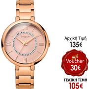 Vogue Twist Crystals Rose Gold Stainless Steel Bracelet 81039.5