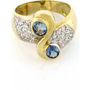 Χρυσό δαχτυλίδι 14 καράτια άπειρο με λευκά και σιέλ ζιργκόν