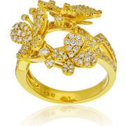 Δαχτυλίδι Κίτρινο Χρυσό 18 Καρατίων Κ18 με Διαμάντια Μπριγιάν, 008327
