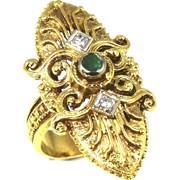 Χρυσό Χειροποίητο Δαχτυλίδι 18 Καρατίων με Σμαράγδι και Διαμάντια rng1837126hnd