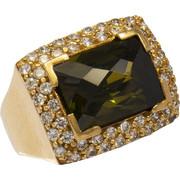 Δαχτυλίδι χρυσό 14 καράτια με πράσινο και λευκά ζιργκόν