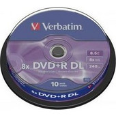 VERBATIM DVD+R dl Double/Dual Layer 8.5GB Matt Silver Cakebox 10