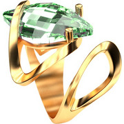 Ασημένιο δαχτυλίδι 925 με πράσινη πέτρα Swarovski AD-15835G1