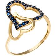 Δαχτυλίδι από χρυσό 14 καρατίων με καρδιές με μπλε ζιρκόν. PS16717