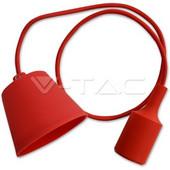 Φωτιστικό κρεμαστό E27 μονόφωτο σιλικόνης Κόκκινο με υφασμάτινο καλώδιο και πλαστική βάση VT-7228 V-TAC