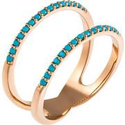 Δαχτυλίδι από ροζ χρυσό 14 καρατίων με ορυκτές τιρκουάζ πέτρες. PS16718