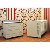 Σετ προεφηβικό κρεβάτι ART BEBE ΣΕΙΡΙΟΣ και συρταριέρα- λευκό/ασημί