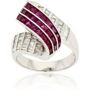 Δαχτυλίδι Λευκό Χρυσό 18 Καρατίων Κ18 με Διαμάντια και Ρουμπίνια, 010644