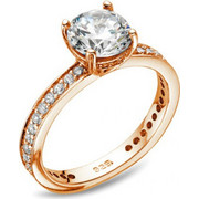 Δαχτυλίδι Vogue Solitaire ρόζ χρυσό ασήμι 925 με ζιργκόν 6 χιλιοστά