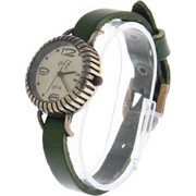 Fashionable Detachable Quartz Watch Bangle Watch Bracelet Wrist Watch with PU Leather Band (Green) SK293588