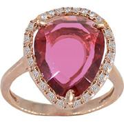 Δαχτυλίδι Visetti ροζ χρυσός ορείχαλκος με λευκά και κόκκινο ζιργκόν