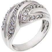 Δαχτυλίδι από λευκό χρυσό 14 καρατίων με ζιρκόν. HR09027