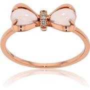 Δαχτυλίδι Φιόγκος Ροζ Χρυσό Κ18 με Διαμάντια Μπριγιάν και Ροζ Χαλαζία, 029995