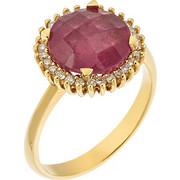 Δαχτυλίδι από χρυσό 18 καρατίων με ορυκτό ροζ ζαφείρι και 28 διαμάντια περιμετρικά. ZH15466