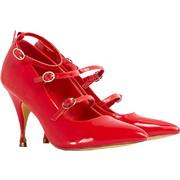 vintage styled strappy γόβα betty σε κόκκινο