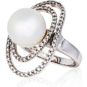 Δαχτυλίδι Λευκό Χρυσό 18 Καρατίων Κ18 με Διαμάντια και Μαργαριτάρι, 007084