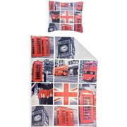 Παπλωματοθήκη Ημίδιπλη 135x200cm & Μαξιλαροθήκη 80x80cm με θέμα το Λονδίνο, 539-100438 - Renforce - 00011701