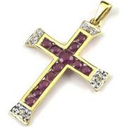 Χρυσός Σταυρός 14 Καρατίων με Διαμάντια και Ρουμπίνια