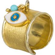 Σεβαλιέ επίχρυσο δαχτυλίδι με ματάκι 925 022916 022916 Ασήμι