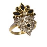 Δαχτυλίδι χρυσό και λευκόχρυσο 14 καράτια με λευκά και μαύρα ζιργκόν